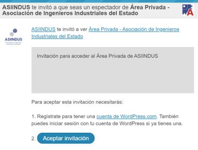 Email de invitación